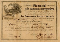 Confederate States of America - Non Taxable $1,000 Bond Certificate with Montgomery Interest  Stamp  (Early Tax Exempt Bond)  - September 19, 1864 - Ball 366