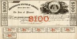 Confederate States of America State of Missouri ( Missouri Defense Bond) - 1862