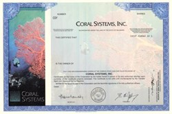 Coral Systems, Inc  Specimen Stock Certificate  (Acquired by  Lightbridge )