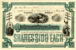 Commercial Telegram Company (Acquired by the New York Stock Exchange)  - Stock Ticker Vignette - New York, 1888