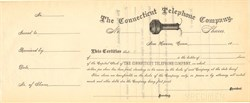 Connecticut Telephone Company (Specimen) - New Haven, Connecticut 1880's