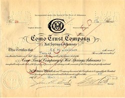 Como Trust Company - Hot Springs, Arkansas 1916
