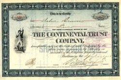 Continental Trust Company signed by Solomon Davies Warfield - Maryland 1908
