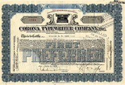 Corona Typewriter Company, Inc. - New York 1920