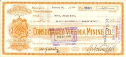 Consolidated Virginia Mining Co. signed by Zeb Kendall  - Nevada 1949