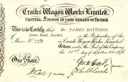 Craiks Wagon Works Limited 1876 - Engand