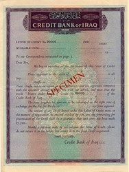 Credit Bank of Iraq (Letter of Credit Specimen)  - Iraq