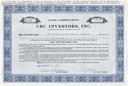 CRC Investors, Inc. - New York 1981
