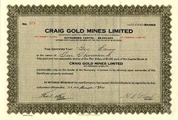 Craig Gold Mines Limited - Ontario, Canada 1934