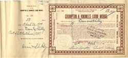 Crompton & Knowles Loom Works signed by Co Founder George Crompton - Massachusetts 1900
