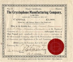 Crystophone Manufacturing Company (Crystal Radio maker) - 1922