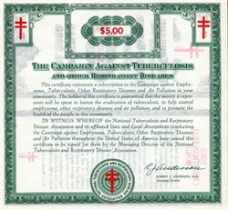 National Tuberculosis and Respiratory Disease Association ( Now American Lung Association)  - Christmas Seal Bond Certificate 1970