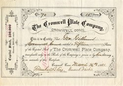 Cromwell Plate Company - Cromwell, Connecticut 1881