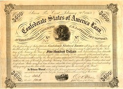 Confederate States of America $500 War Bond - Soldier at Campfire Vignette - Ball #220