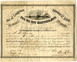 CSA Four Percent Registered Bond -- Naval Battle CSS Virginia Sinking USS Cumberland  issued on July 4, 1964 - Ball #286