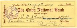 Cuba National Bank of Cuba, New York  - 1909