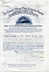 Cunard Steamship Company Ltd  (RMS Lusitania vignette) 1910