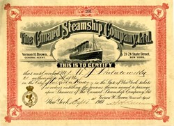Cunard Steamship Company, Ltd.  RARE Ticket Agent Certificate with vignette of RMS Lusitania (8 years prior to sinking) - 1907