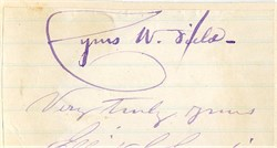 Cyrus W. Field Autograph