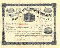 Davidson Investment Company of Wichita Kansas   - 1886