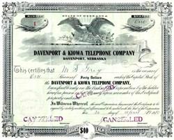 Davenport & Kiowa Telephone Company - Certificate #1 - Davenport, Nebraska 1910