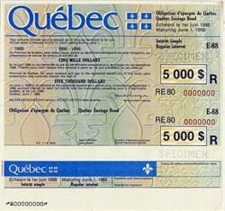 Quebec Savings Bond - $5,000 Specimen - Quebec, Canada 1988