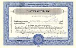 Dante's Motel, Inc.  - New Jersey 1963