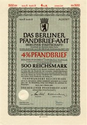 Das Berliner Pfandbrief-Amt (WWII Citizens of Berlin Mortgage Bond) - Germany 1942