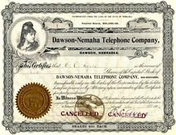Dawson = Nemaha Telephone Company Certificate #1 - Dawson, Nebraska 1902
