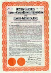 David Grimes Radio and Cameo Record Corporation - Gold Bond 1926