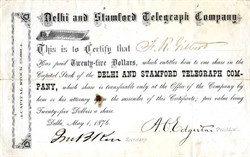 Delhi and Stamford Telegraph Company - New York  1876