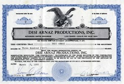 Desi Arnaz Productions, Inc. handsigned by Desi Arnez (RARE) -  California 1966