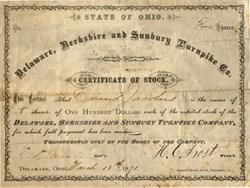 Delaware, Berkshire and Sunbury Turnpike Co. - Ohio 1871