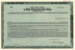 De Beers Consolidated Diamond Mines (Rare Specimen Certificate ) - New York