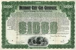 Detroit City Gas Company $1000 Gold Bond (Became DTE Energy Company) - RARE Specimen - 1903