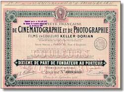 De Cinematographie et de Photographie Stock Certificate 1928