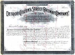 Detroit Citizens Street Railway Company signed by Tom L. Johnson ( Mayor of Cleveland)  - Michigan 1895