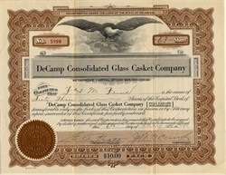 DeCamp Consolidated Glass Casket Company - Delaware 1929