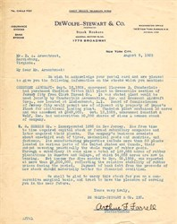 DeWolfe - Stewart & Co. Investment Letter (2 months before crash) - New York - August 1929