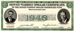 Thomas Dewey - Earl Warren Presidential Dollar Contribution Certificate - Pennsylvania 1948