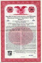 Delaware, Lackawanna and Western Company Equipment Trust $1,000 Specimen Bond