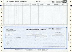 De Lorean Motor Company Blank Check - California