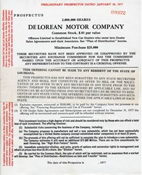 Delorean Motor Company - Preliminary Prospectus - Louisiana 1977