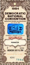 Democratic National Convention Specimen Pass - San Francisco, California 1984