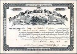 Denver City Consolidated Silver Mining Co. 1891 - Colorado
