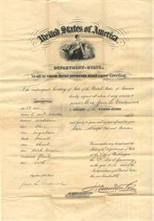 Passport for Jane L. Underwood ( wife of Civil War General, Adin Ballou Underwood) signed by Hamilton Fish, Secretary of State -1876