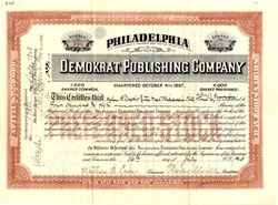 Philadelphia Demokrat Publishing Company - Pennsylvania 1908