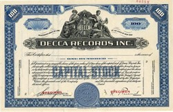 Decca Records Inc. with cofounder Milton R. Rackmil as President - New York