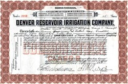 Denver Reservoir Irrigation Company -Colorado 1911
