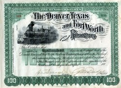 Denver, Texas, and Fort Worth Railroad Company hand signed by Grenville Mullen Dodge ( Dodge City was named after him)- Texas 188_